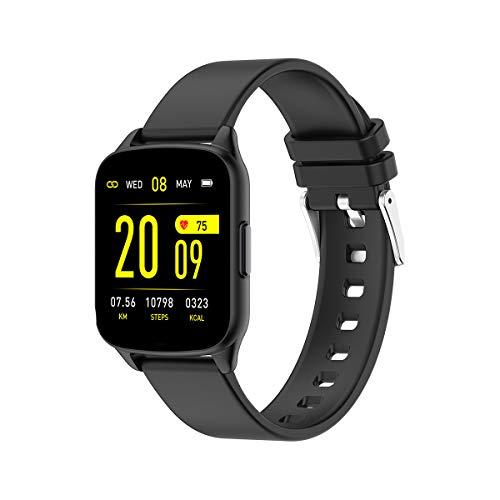 evermotor - Reloj inteligente, pulsera de seguimiento de actividad que registra la frecuencia cardíaca, la presión arterial, la actividad y el sueño, y avisa de llamadas y mensajes, negro