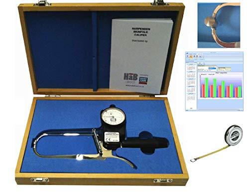 Plicometro Harpenden con Software Body Tracker, Estuche, Cinta Antropométrica Lufkin W606PM, Manual de Instrucciones para Medir Porcentaje de Grasa Corporal, Calibre Cientifico de Alta Precision