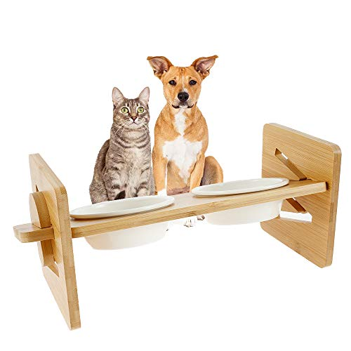 Ciotole Rialzate, Per Gatti e Cani Altezza Regolabile Porta Ciotole Rialzato in Bambù con 2 Ciotole in Ceramica ,Scodelle Rialzate per Piccola Gatti Cani