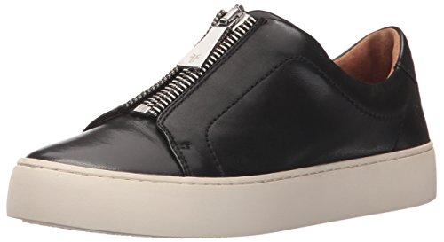 FRYE Women's Lena Zip Low Fashion Sneaker, Black Polished Soft Full Grain, 5.5 M US
