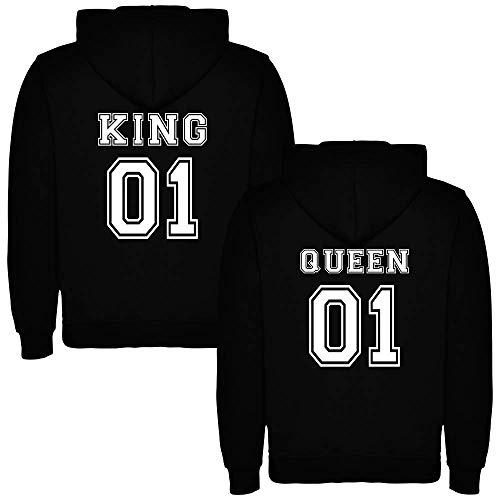 Pack de 2 Sudaderas Negras para Parejas, King 01 y Queen 01, Blanco (M