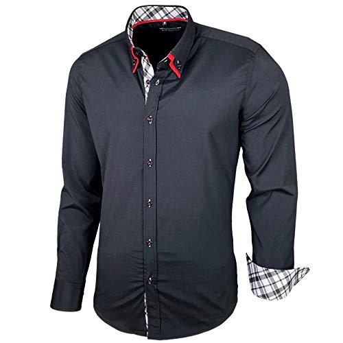Baxboy Herren Hemd Karohemd Kariert Hemden Freizeit Business Party Bügelleicht Button-down Shirt B-507, Farbe:Schwarz, Größe:XL