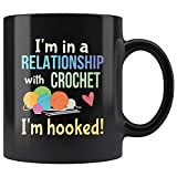 Funny Crochet Crafters Coffee Mug Committed Relationship Hooked Pun