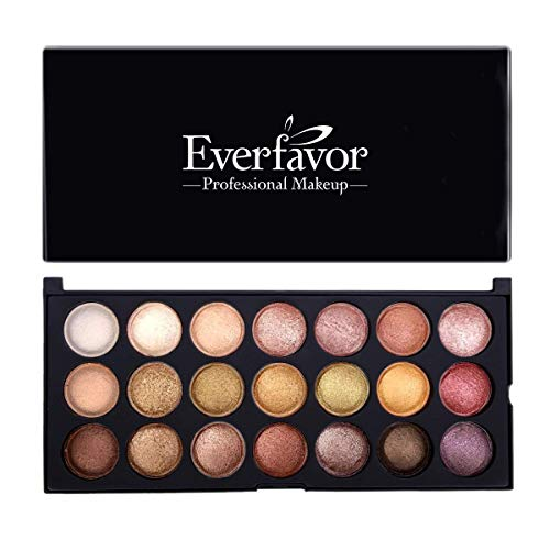 Eyeshadow Palette Makeup, Everfavor Pigmented Eye Shadow Nude Palettes - Professional 21 Colors Shimmer Warm Neutral Smoky Cosmetic Baked Eye Shadows (21 Colors, 09)