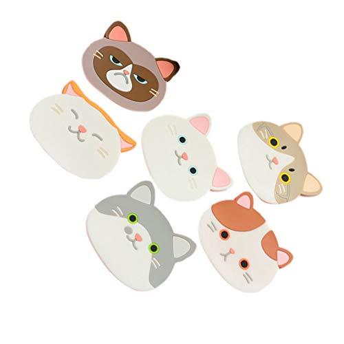 rongweiwang 6pcs / Set Gatto Sveglio Coaster del Fumetto Cat Coffee sottobicchieri Cat Drink Cup Bevande vaschetta del Pot del Rilievo da tavola Cucina Mat