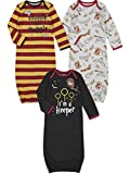 Harry Potter Baby Boys 3 Pack Long Sleeve Swaddle Sleeper Gown 0-6 Months Red/Gray