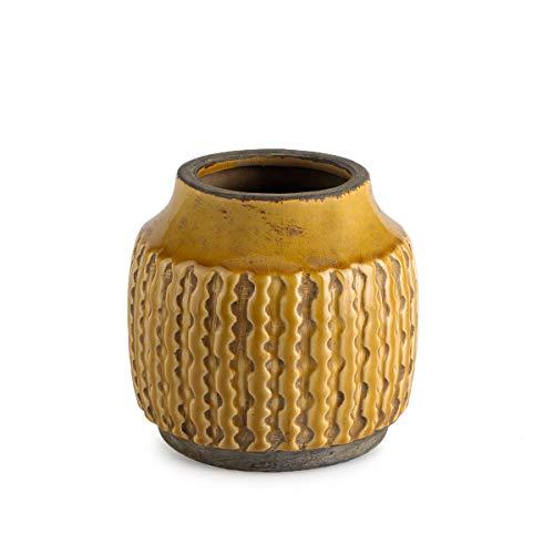 Jarrón cerámica, Color Amarillo Mostaza,