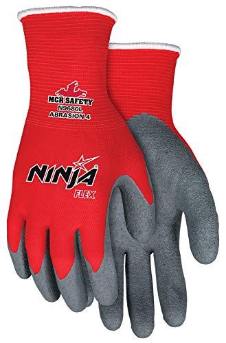 Memphis Gloves N9680S Ninja Flex Nylon Shell Gloves with Latex Dip Palm & Fingertips, Gray/Red, Small, 1-Pair