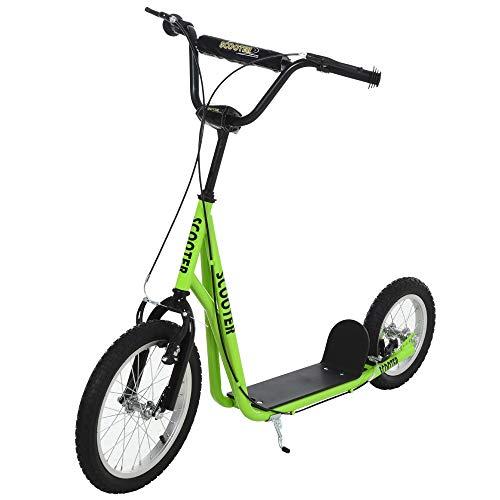 HOMCOM Scooter Patinete para Niños Mayores de 5 Años con 2 Neumáticos de Caucho Inflable con Doble Freno Manillar Ajustable en Altura Soporte 100 kg 135x58x88-94 cm Verde
