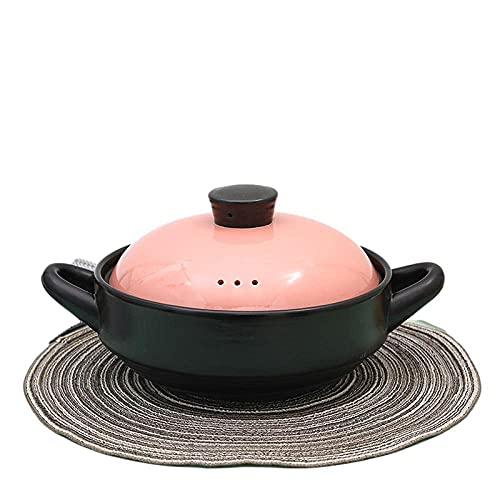 Cazuela de cerámica de barro de terracota, el material espodumeno esmaltado exquisitamente en relieve no se agrieta cuando se calienta y fría alternativamente, 4.2L de cocina