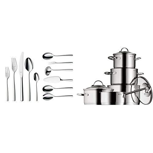 WMF Boston Cromargan Cubertería 66 piezas para 12 comensales + Provence Plus Batería de Cocina, Acero Inoxidable Cromargan, Tapas de Cristal, Apta para Todo Tipo de Cocinas, 5 Piezas