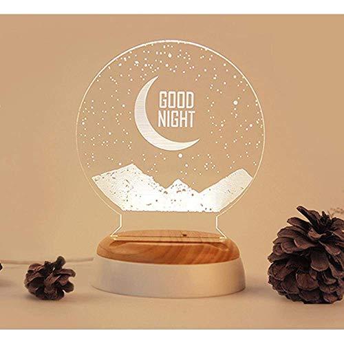 Lámpara de mesa Lámpara de mesa LED de luna romántica, creativa y encantadora, luz de noche LED y lámpara de dise?o de luz de luna bellamente pintada y mesita de noche, decoraciones, regalos, regalos