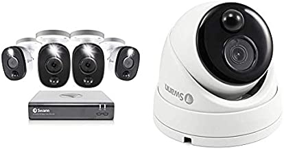 Swann 8 Channel 4 Camera Security System, Wired Surveillance 1080p HD DVR 1TB HDD, Audio Capture, Weatherproof & Home Security Dome Camera, Wired Surveillance 1080P DVR, Weatherproof