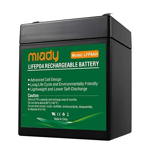 Miady 12,8V 7,2Ah LiFePO4 Akku Lithium Batterie mit BMS(Batterie Management System), 2000 Zyklen wartungsfreie Batterie für kinderauto,Wohnmobil,Boot,Camping oder Solaranlage usw.