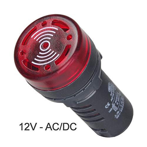 Leuchtmelder Rot 12V AC/DC mit Piezo - Summer Signalleuchte Signallampe 22mm