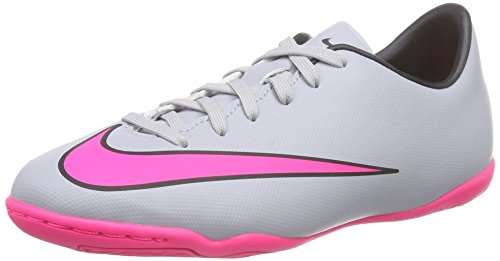 Nike Jungen Mercurial Victory V IC Fußballschuhe, Grau (Wolf Grey/Hyper Pink/Black/Black), 35 EU