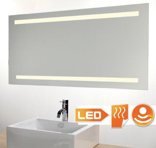 Schaere badkamerspiegel met designer LED-verlichting 4000K, sensor en spiegelverwarming 140 x 60 cm