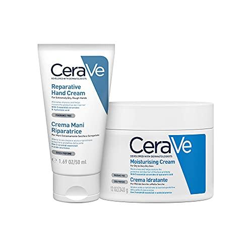 Cerave Crema Mani Riparatrice 50ml + Crema Idratante Viso e Corpo 340g