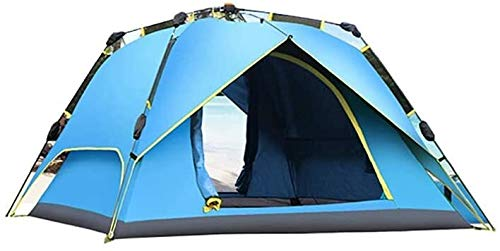 LAZ Tents,Double Layer Thickened Camping Tent 3-4 People Automatic Fast-Moving Four Seasons Outdoor Camping Equipment Sun Shelter (Color : Blue, Size : 230 cm)