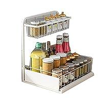 キャビネットオーガナイザーを引き抜き、シンクキャビネットシェルフの下の虚栄心とキッチンのための2層スライドワイヤードリーダー付きの収納棚をスライドアウトする (Color : White)