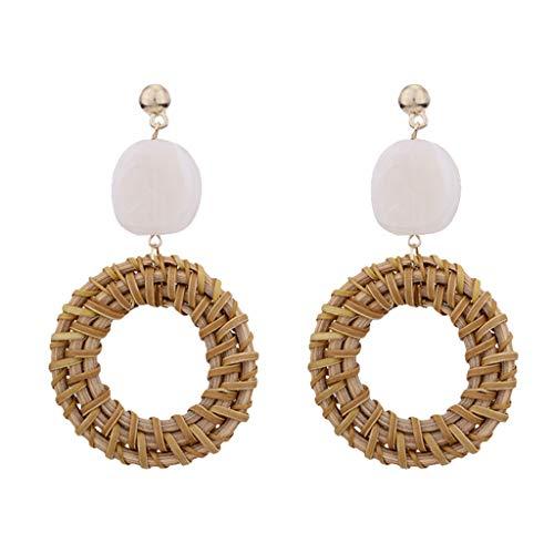 Fenverk 2018 Trend Fashion Ohrringe Frauen Retro Metall Ohrringe geometrische groß Anhänger Ohrringe (Kaffee-Rattan)