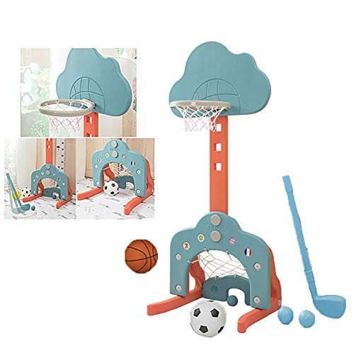 Yajun Kinder 3-In-1 Basketballkorbs Set Fußball Zielsatz Kann Angehoben Und Abgesenkt Werden Schießrahmen 1-6 Jahre Alter Baby Indoor Sport,Orange-Green