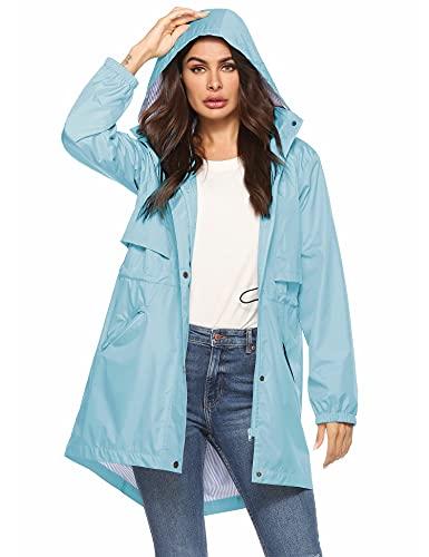 Womens Rain Jacket Waterproof With Hood Slicker Rain Coats Women Light Blue Xl