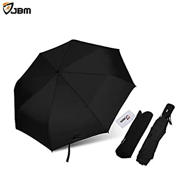 JBM Travel Umbrella Auto Open Compact Folding Sun & Rain Protection Windproof Portable Umbrella for Kids Women Men (Black, Red, Purple)