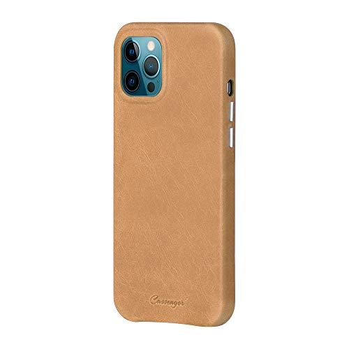 Cassenger Business Series Kompatibel mit iPhone 12 Pro Max 6,7 Zoll 2020 Leder Tasche Hülle Cover Hülle Etui Braun
