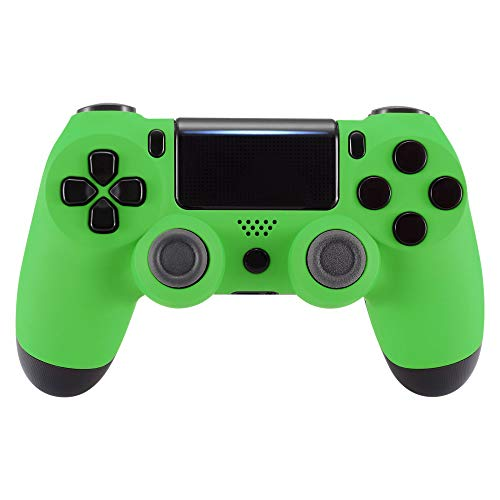 eXtremeRate Green Custom Faceplate Cover for PS4 Slim Pro Controller, Soft Touch Front Housing Shell Case for Playstation 4 Controller CUH-ZCT2 JDM-040/050/055 - Controller NOT Included
