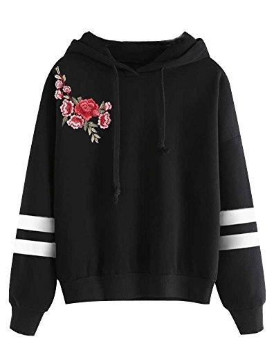 Minetom Mujeres Sudaderas con Capucha Hoodies Camisetas Manga Larga Encapuchado Camisa de Entrenamiento Tops Pullover Outwear Negro Flor3 ES 40