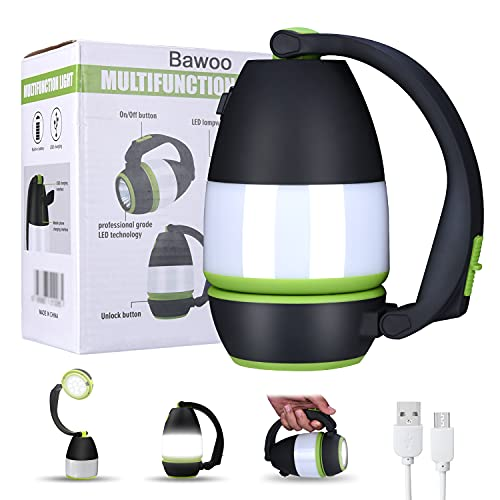 Lampe Torche Camping Rechargeable Bawoo 3 en 1 Lampe de Table Lanterne Camping Tente Lampe de Poche Déformable Lampe de travail Avec 2000mAh Batterie LED Extérieur Intérieur Pour Randonnée Lecture