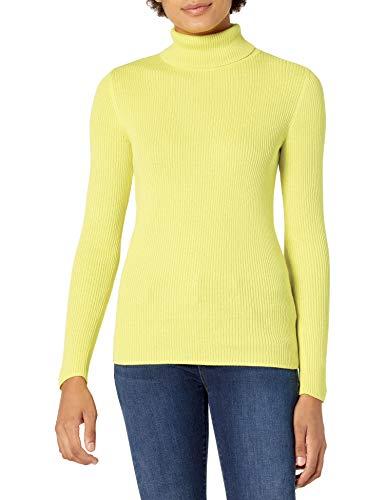 Amazon Essentials Women's Slim-Fit Lightweight Long-Sleeve Turtleneck Sweater, Bright Yellow, Medium