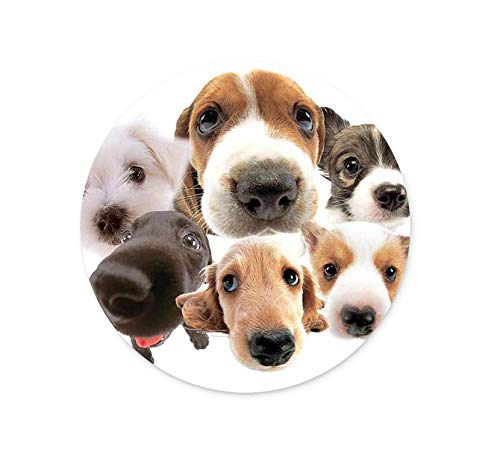 Round Mouse Pad Dog Design, Professional Customized Non-Slip Rubber Gaming Mouse Pad, Good Gift for Office Work and Home Computer Accessories