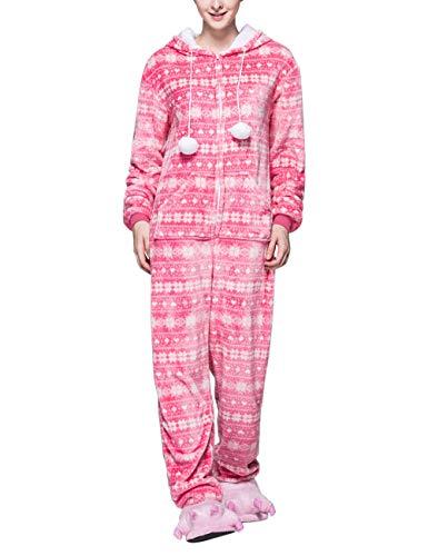 besbomig Franela Pijamas de Una Pieza Copo de Nieve Encapuchado Todo en Uno Traje de Dormir Ropa de Dormir para...