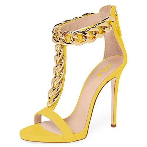 FSJ Women Golden Open Toe Ankle Straps Sandals High Heels Pumps Stilettos T-straps Metal Chain Shoes Size 10 Yellow