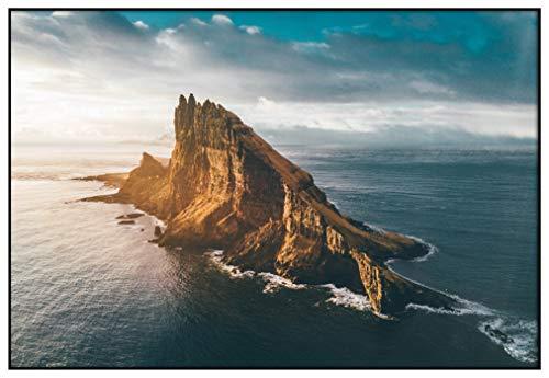 Panorama Metacrilato Enmarcado Islas Faroe 70 x 50 cm - Impreso en Metacrilato de 3mm Marco - Cuadros para Salón - Cuadro con Marco - Láminas Decorativas - Cuadros Modernos