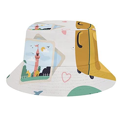 Brand Free Juguetes Bosquejo Azul Sin Costuras Patrón Cubo Sombrero Verano Viaje Poliéster Packable Playa Sol Sombrero Al Aire Libre
