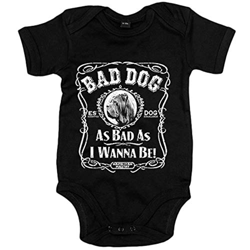Body bebé frase perro raza Mastín Napolitano Napolitan Mastiff Bad dog as bad as I wanna be - Negro, Talla única 12 meses