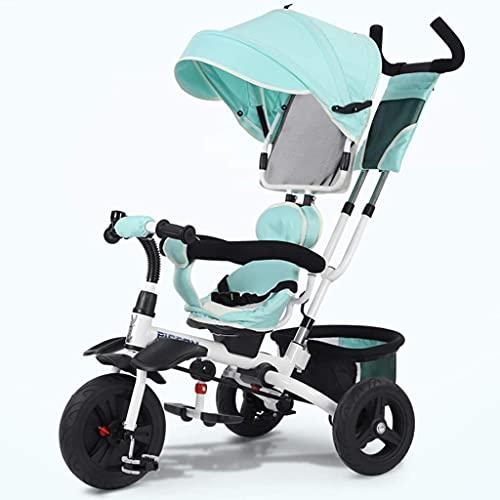 TANKKWEQ Cochecito Plegable 2, 3 y 4 para niños Plegables, Bicicletas envejecidas, toldos y la Barra de Empuje con Ruedas extraíbles y bloqueables (Color : Green)