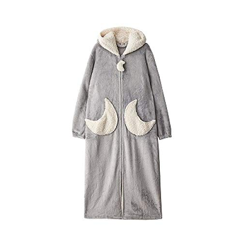 IXIIXI Bademäntel Winter dicken extra Langen Reißverschluss Pyjama Robe Damenmode Star Moon warme Kapuze Bademantel lose Brautjungfer Robe Bademantel, grau Mond, L