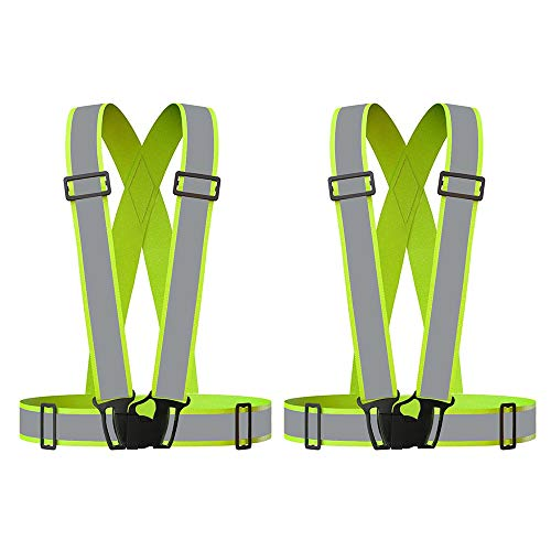 Grinigh Reflective Vest,2PACK Adjustable Elastic Lightweight & High Visibility Safety Vest for Running, Jogging, Walking, Cycling, Work Fits Over Outdoor Clothing Motorcycle Jacket Outdoor Gear