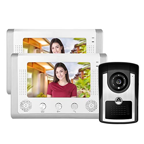 7in 1V2 Video Doorbell Kit, HD Waterproof Intercom Doorbell with Electrically Controlled Unlocking Wall Mounted Night Vision Monitor for Home Office Hotel Garage(UK)
