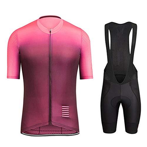 HXTSWGS Maillot Ciclismo Hombre+Culotte Ciclismo,Conjuntos de Ropa de Ciclismo/Conjuntos de Camisetas de Ciclismo de Manga Corta de Verano para Hombre Transpirable Ropa-A16_L