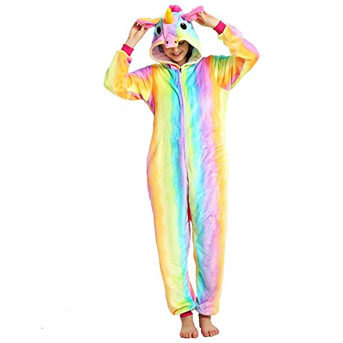 KiKa Monkey Kids Unicorn Cartoon Flannel, Animal Novelty, Costumes, Cosplay Pyjamas (S, Regenbogen)
