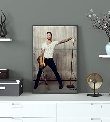 Singer Adam Levine Guitar and Microphone Photo Poster Print Canvas Poster Wall Decor Art Wall Art Print Gift Poster Unframed Printing Size - 11'x17' 18'x24' 24'x32' 24'x36' (M - 18'x24' (46x61cm))
