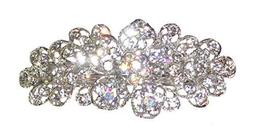 Pasador para el pelo con diseño de flores de cristal de color plateado