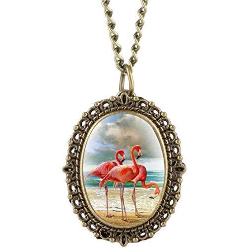 Yiyu Taschenuhr, Flamingo-Patchmuster Mit Kleinem Zifferblatt Für Kindermädchen Vintage Elegante Damenuhren Halskette Anhänger x (Color : Brass)