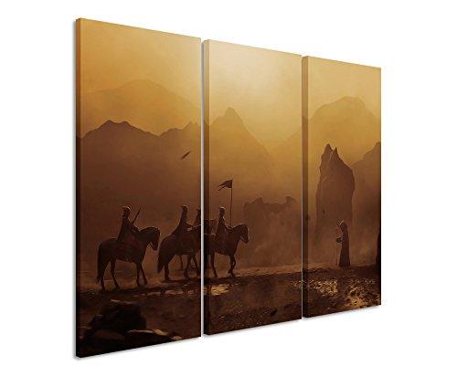 Leinwandbild 3 teilig Cavelands_Fantasy_3x90x40cm (Gesamt 120x90cm) _Ausführung schöner Kunstdruck auf echter Leinwand als Wandbild auf Keilrahmen