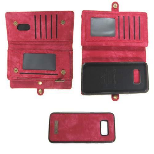 Flip Case Handy-Hülle passend für Samsung Galaxy S8 Plus - Wallet Book Spalt-Leder - Handy-Tasche Schutz-Hülle, Farbe:Deep Pink
